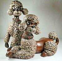 Ceramic Poodle Figurines / Brown Poodles / Dog Statues / Vintage Atlantic Mold