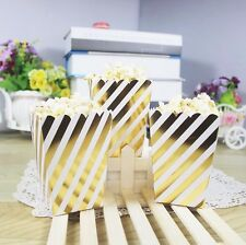 12pcs/lot Gold and White waves Popcorn Favor Boxes For Birthday Party Supplies