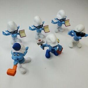 McDonalds Happy Meal Smurfs Figures Toys Peyo 2013 LOT of Six (6)