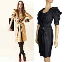 JUST CAVALLI BY ROBERTO CAVALLI BLACK SATIN DRESS WITH BELT 40 / 4