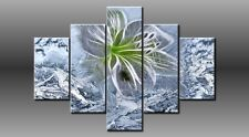 LARGE ABSTRACT FLOWER FLORAL BLUE CANVAS WALL PICTURE ART MULTI PANEL 40X 0227/5