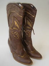 ATTITUDE WITHOUT LIMITS COWGIRL WESTERN LEATHER BOOTS SIZE US 8 HOT VINTAGE