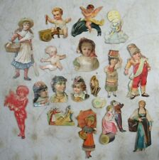 18 Antique Victorian Paper Die & Hand Cuts Advertising Scrap Sewing Face Baby