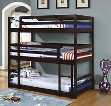 Coaster Home 400302 Triple Twin Bunk Bed, Built-In Ladder in Cappuccino Finish