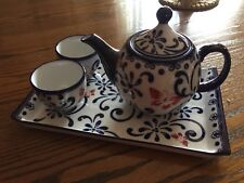 Pier 1 Imports Butterfly Blossom Cobalt 4PC Tea Set W/Tray, Teapot and 2 Cups