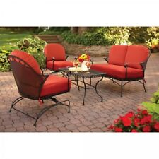 4-Piece Patio Cushioned Conversation Set Outdoor Living Chair Loveseat Table New