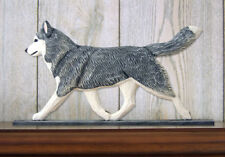 Siberian Husky Dog Figurine Sign Plaque Display Wall Decoration Grey/White