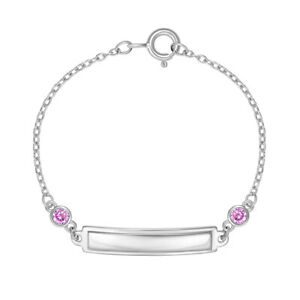 """925 Sterling Silver 4.5"""" Baby Girl Tag ID Bracelet Pink Cubic Zirconias & Name"""