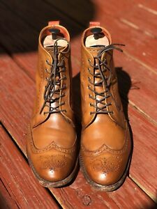 ALLEN EDMONDS 'Dalton' Walnut Brown Wingtip Brogue Boots Size 10.5E