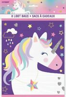 "8 x Purple Unicorn Loot Bags 9"" Girls Birthday Party Supplies Goody Treat Empty"
