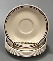 "Set of 8 Corelle Corning CINNAMON Blue Red Stripes 6"" Tea Saucers AA"