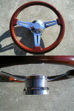 "Mahogany wood steering wheel 13.75"" + Adapter 4 chevy Ididit GM Jeep oldsmobi SS"