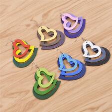 Womens Multilayer Heart Earrings Wooden Dangle Ear Hook Party Jewelry Decor