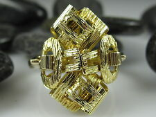 14K Abstract Art Ring Yellow Gold 6.62gr Diamond Cut Fine Jewelry Modernist sz 7