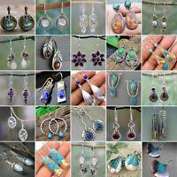 Silver Turquoise Dangle Drop Earrings Ear Hook Sapphire Moonstone Women Gift