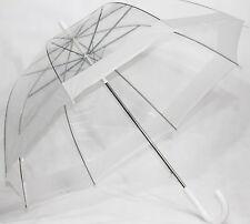 schöner Regenschirm transparent Automatik mit Rand In WEISS
