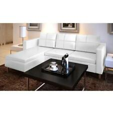 3 Seater L-shaped Artificial Leather Sectional Sofa Lounge Couch White A1S8