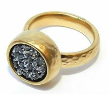 Hammered Yellow Gold 24K Plated Ring w Amazing Silver Gray Druzy Stone Sz 6.5