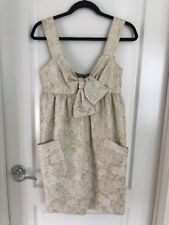 Vera Wang Lavender Label Dress Gold brocade Bow Size 6 40 $595