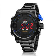 OHSEN Blue Hands Alarm Quartz Analog Digital Mens Black Steel Band Wrist Watch