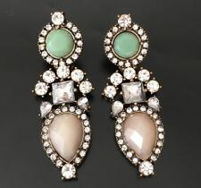 XL Lange Ohrstecker Perlen Ohrringe Statement Hänger Altgold Vintage Strass Opal