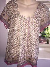 BHS Petite Ivory Pink Gypsy Boho Blouse Top Size 20 BNWT