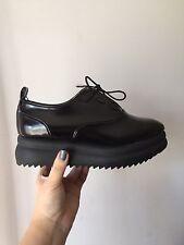 f1b5485e8428 Zara Black Platform Bluchers Lace Up Shoes Size U.S 6.5   E.U 37 NWT