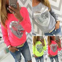 USWomen Sequin T-shirt Tops Love Heart Shape Long Sleeve Blouse Casual Pullover