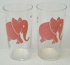 set pair of vintage pink elephant clear glasses tall barware 1950s federal glass