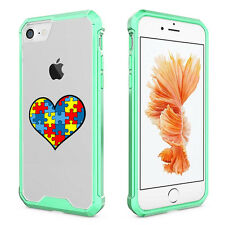 For iPhone X 6 6s 7 8 Plus Clear Shockproof Case Cover Heart Puzzle Autism Color