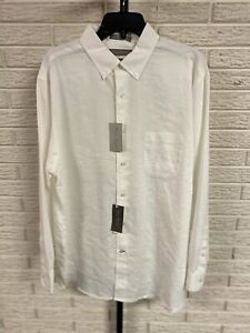 Daniel Cremieux mens WHITE LINEN SHIRT designer stretch XL NEW $89.50 #A161