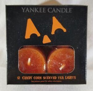 Yankee Candle CANDY CORN Box of 12 Scented Tealights Tea Light Halloween Black