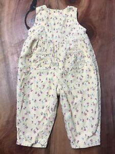 Vintage OshKosh Girls Corduroy Yellow Jumpsuit 18 Months 100% cotton Floral MM27