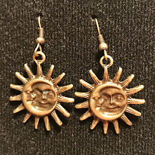 Bronze Sun and Moon Dangle Drop Earrings with Bronze French Ear Hooks