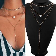 Women Chain Pearl Bib Choker Pendant Charm Statement Necklace Jewelry Fashion
