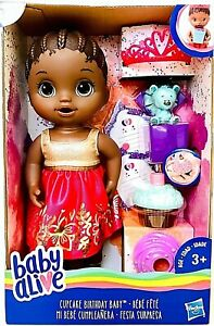 1 Count Baby Alive Cupcake Birthday Baby Doll With Party Accessories Age 3 & Up