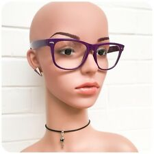 RETRO 80s CLEAR LENS PURPLE HORN RIM WAYFARE GEEK GLASSES BRAND NEW UV400