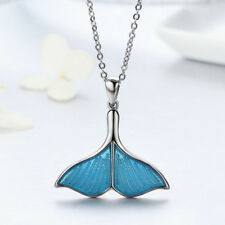 Authentic 925 Sterling Silver Blue Enamel Fish Tail Charm Pendant Necklace