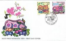 """VIETNAM , 1995, """"YEAR OF PIG"""" IMPERFORATE STAMP SET ON  FDC FRESH CONDITION"""