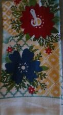 NEW KITCHEN COTTON DISH TOWEL Modern Big Red Flower Teal Ecru Red Yellow Blue