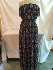 Sweet Pea Flutter Ikat Foulard Gray Maxi Dress Size Medium NWT