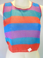 Nos 1980s Vintage Cropped Fishnet Sweater Mesh Tank Top Retro Mod Disco Blouse M