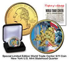 WTC 9/11 24K GOLD HOLOGRAM PLATED USA MINT BLUE NEW YORK STATEHOOD QUARTER COIN