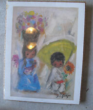 COOL Ted DeGrazia Print Two Small Ethnic Children LOOK