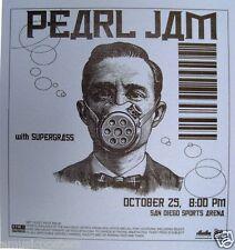 "PEARL JAM SAN DIEGO 2002 ""RIOT ACT TOUR"" CONCERT POSTER - Man Wearing Gas Mask"