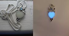 GLOW IN THE DARK Blue Heart Ribbon with Blue Rhinestone Pendant Charm Necklace