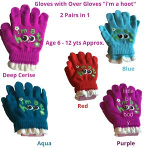 Girls Magic Knitted Gloves & Fingerless Over Gloves 2 in 1 - Owl  It's a Hoot