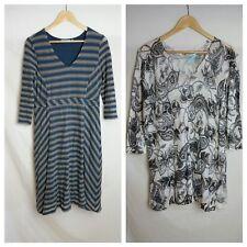 Blue Illusion Dress S/M 10 12 Grey Blue Knit Croshet Stripe Ivory Black Paisley