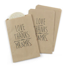 25 Kraft Love Thanks Mr. Mrs. Wedding Favors Party Favor Candy Bags Mw21847