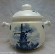 VINTAGE SCHERZER BAVARIA GERMANY DELFT BLUE WINDMILL SOUP TUREEN